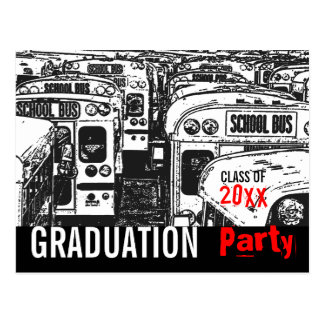Graduation Party Invitation Black Postcard
