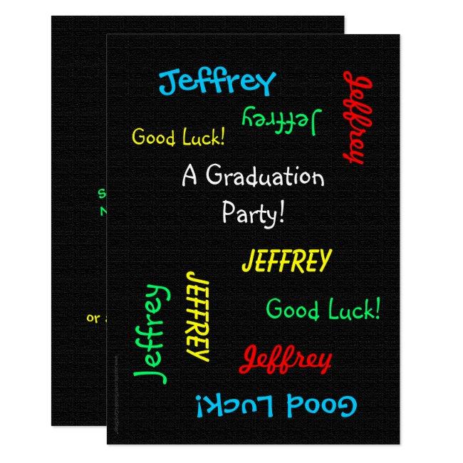 Graduation Party Invitation, Faux Black Burlap