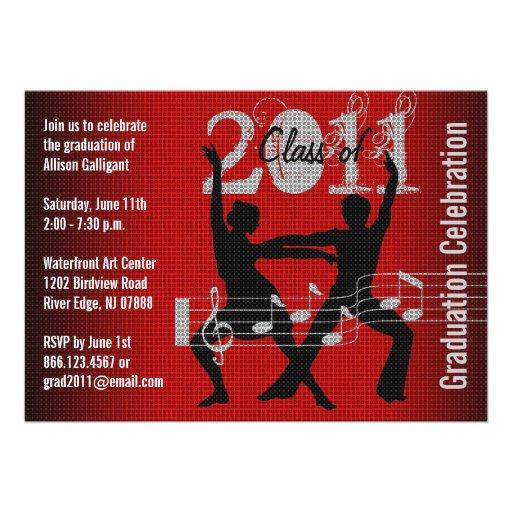 Graduation Party Invitation Music Dancing 1