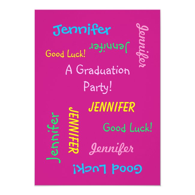 Graduation Party Invitation, Personalized Hot Pink