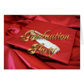 Graduation party invitation red cap and gown greeting card