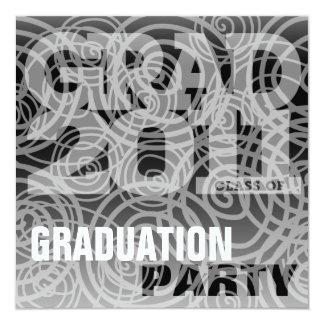 Graduation Party Invitation Twirl Classic Black