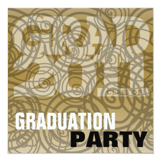 Graduation Party Invitation Twirl Gold Brown