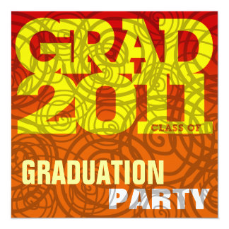 Graduation Party Invitation Twirl Orange Spice