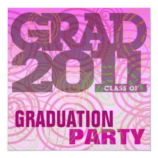 Graduation Party Invitation Twirl Pink Cherry