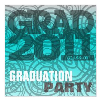 Graduation Party Invitation Twirl Turquois Blue