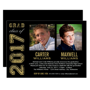 Graduation Party Invitation | Two Graduates at Zazzle