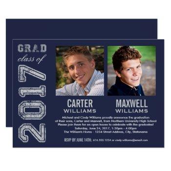Graduation Party Invitation | Two Graduates by Plush_Paper at Zazzle