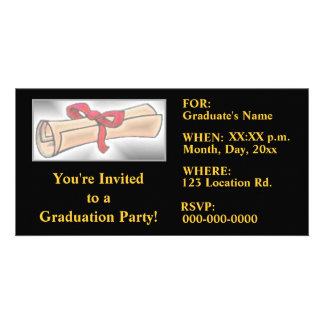 Graduation Party Invitations - Black-Gold Photo Card Template
