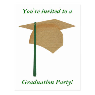 Graduation Party Invitations, Gold and Green Cap Post Cards
