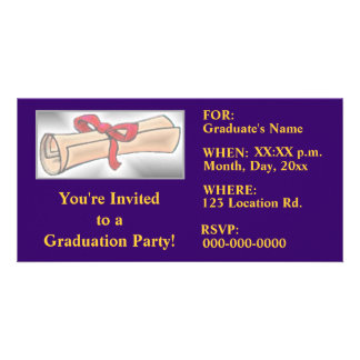 Graduation Party Invitations - Navy Blue - Gold Photo Cards