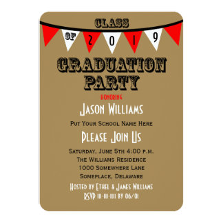 """Graduation Party Invitations - Red Flags 4.5"""" X 6.25"""" Invitation Card"""