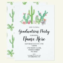 Graduation Party Invite Cactus Watercolor Print