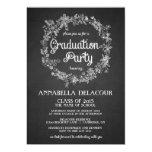 Graduation Party Invite-  Floral Wreath Chalkboard