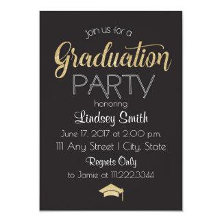 Graduation Party Invite-Gold Sparkle Design Card