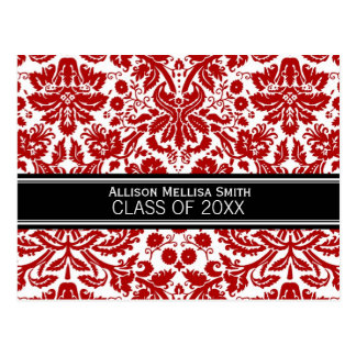 Graduation Party Invite Red Black Damask Postcard