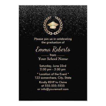 Lawyer Themed Graduation Party Modern Black Glitter Card