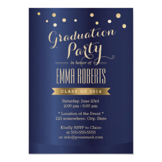 Graduation Party Modern Gold Confetti Elegant Card