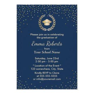 Graduation Party Modern Gold Confetti Navy Blue Card
