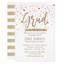 Graduation Party Modern Gold Script Red Confetti Card