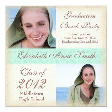 Beach Themed Graduation Party on the Beach Windswept Grunge Card