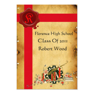GRADUATION PARTY PARCHMENT, Red Wax Seal  Monogram 5x7 Paper Invitation Card