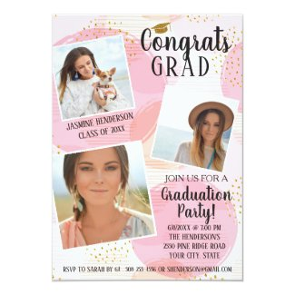 Graduation Party Photo Collage Blush Pink Gold Dot Card