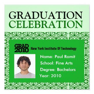 Graduation Party Photo ID Card Green Invitation