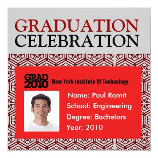 Graduation Party Photo ID Card Red Invitation