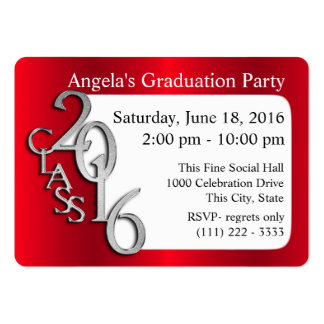 Graduation Party Photo Insert Card Red Large Business Card