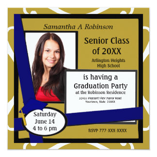 Graduation Party Photo Invitation Blue Cap