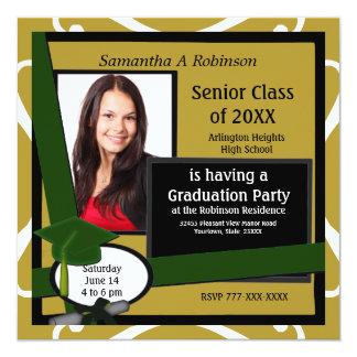 Graduation Party Photo Invitation Green Cap