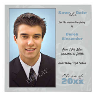 "Graduation Party Photo Save the Date 5.25"" Square Invitation Card"