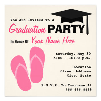 Graduation Party Pink Flip Flops & Graduation Cap Invites