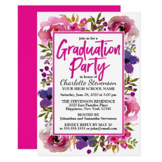 Graduation Party Pink Floral Watercolor Invitation