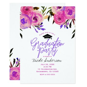 Beach Themed Graduation Party Pink Purple Bright Modern Floral Card