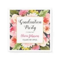 Graduation Party | Pink Watercolor Flowers Napkin