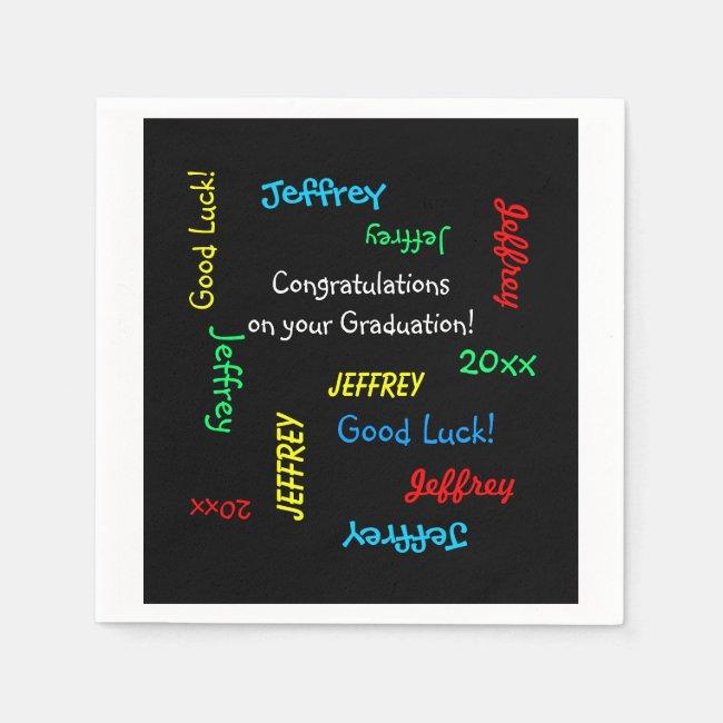 Graduation Party Repeating Names Black Paper