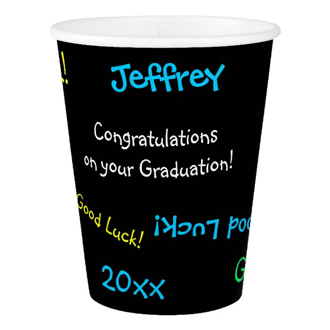 Graduation Party Repeating Names FUN Black