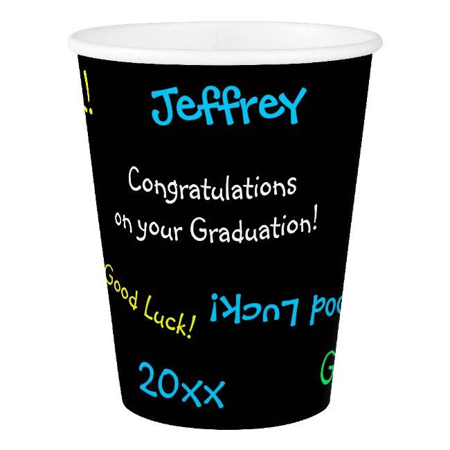Graduation Party Repeating Names FUN Black