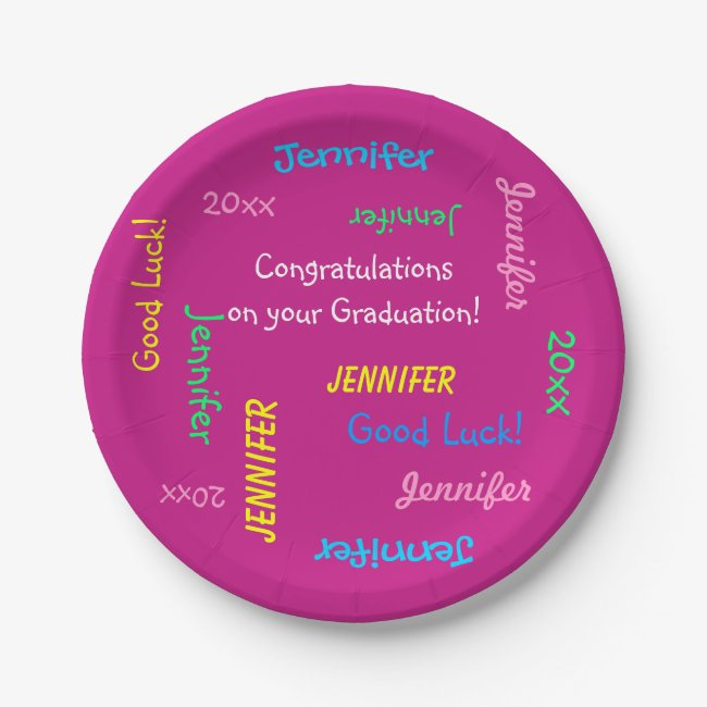 Graduation Party Repeating Names FUN Hot Pink