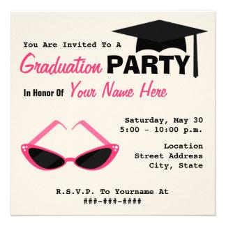 Graduation Party Retro Cat Eye Pink Sunglasses Invitations