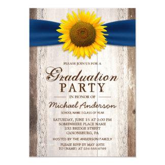Graduation Party Rustic Barn Wood Sunflower Ribbon Card