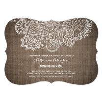 Graduation Party | Rustic Burlap Paisley Pattern Invitation