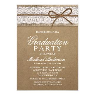 Graduation Party Rustic Burlap String Bow Lace Card