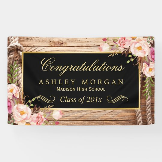 Graduation Party Rustic Country Wood Floral Banner