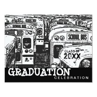 Graduation Party School Bus Black Invitation
