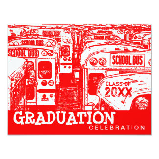 Graduation Party School Bus Red Invitation