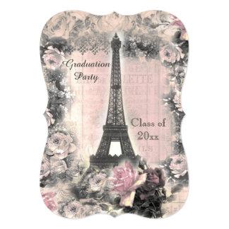 Graduation Party Shabby Chic Eiffel Tower & Roses Custom Invitations