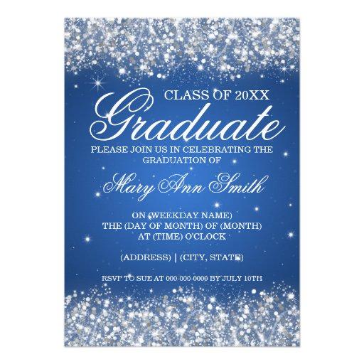 Graduation Party Sparkling Glitter Blue Personalized Invites